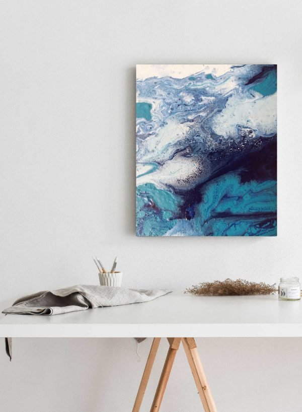 blue fluid art abstract painting