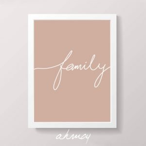 Handwritten Family Sign Pink