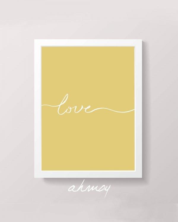 Handwritten Love Sign Yellow