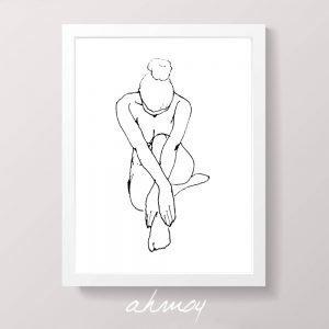 Woman Sitting Hugging Legs Sketch