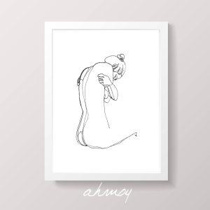 Sad Woman Hugging Herself Drawing