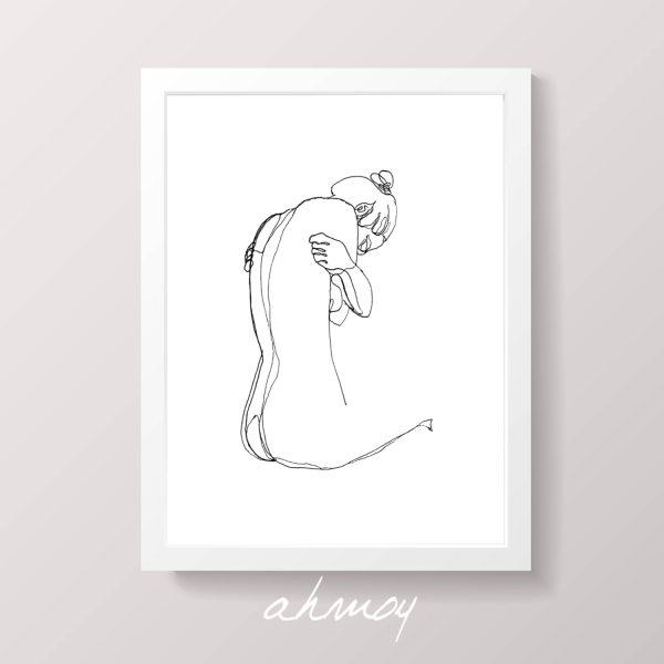 sad woman hugging herself drawing by ahmoy
