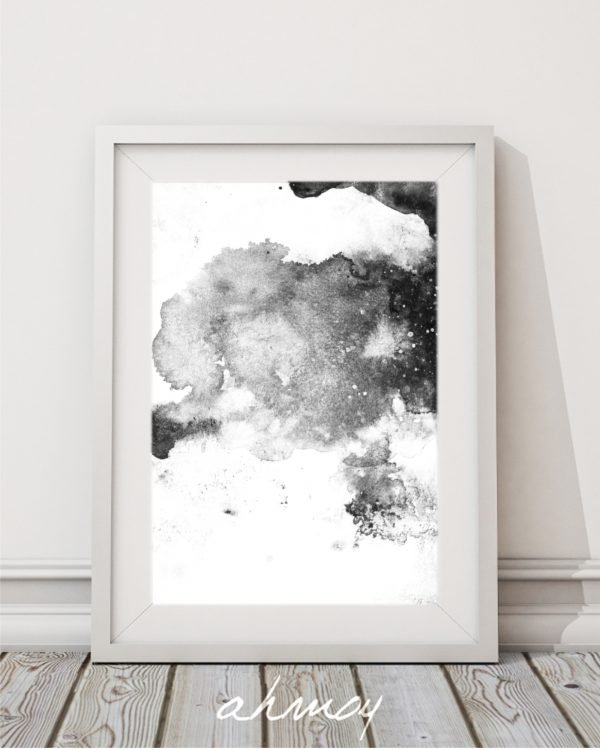 Modern Black White Abstract Art