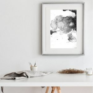 Modern Black White Abstract Art