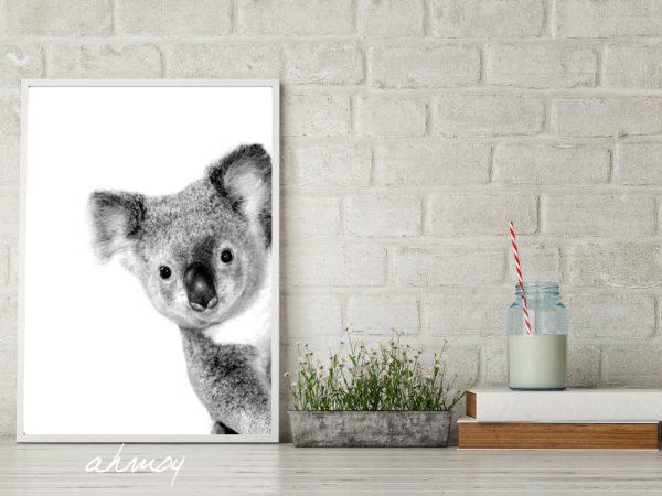 Peekaboo Cute Koala Nursery Art