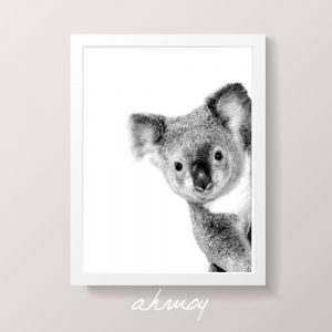 Peekaboo Cute Koala Nursery Art