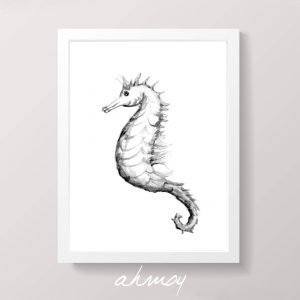 Original Watercolor Seahorse Drawing