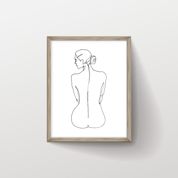 Back Naked Woman Sitting on Floor