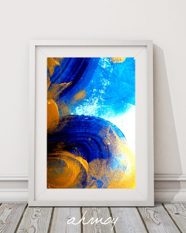 Navy Blue and Gold Abstract Brush Stroke